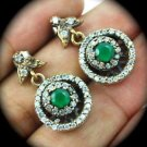 DIAMOND TOPAZ Vintage Emerald Dangle Gem SOLID 925 STERLING SILVER EARRINGS Gold