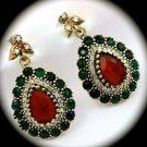 DIAMOND TOPAZ Emerald Ruby Gem/Gemstones SOLID 925 STERLING SILVER EARRINGS Gold