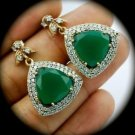RARE Reuleaux Vintage Emerald Gemstones SOLID 925 STERLING SILVER EARRINGS Gold