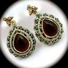 DIAMOND TOPAZ Vintage Ruby Emerald Gems SOLID 925 STERLING SILVER EARRINGS Gold