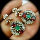 DIAMOND TOPAZ Emerald Ruby/Rubies Gems SOLID 925 STERLING SILVER EARRINGS Gold