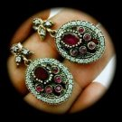 DIAMOND TOPAZ Vintage Ruby/Rubies Gems SOLID 925 STERLING SILVER EARRINGS Gold