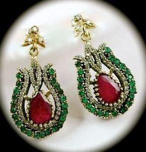 DIAMOND TOPAZ Ruby/Emerald Royal Gems SOLID 925 STERLING SILVER EARRINGS Gold