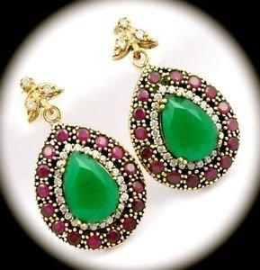 DIAMOND TOPAZ Pear Emerald/Ruby Gemstone SOLID 925 STERLING SILVER EARRINGS Gold