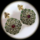 RARE Vintage Ruby Emerald Gems/Gemstones SOLID 925 STERLING SILVER EARRINGS Gold