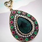 DIAMOND TOPAZ Emerald Ruby Gem Solid 925 Sterling Silver Necklace Pendant Gold