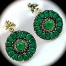 RARE Vintage Estate Emerald Gemstones SOLID 925 STERLING SILVER EARRINGS Gold