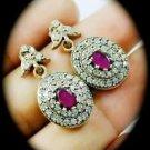 Gold DIAMOND TOPAZ Ruby/Rubies Gems/Gemstones SOLID 925 STERLING SILVER EARRINGS