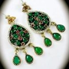 DIAMOND TOPAZ Pear Emerald Gem/Gemstone SOLID 925 STERLING SILVER EARRINGS Gold