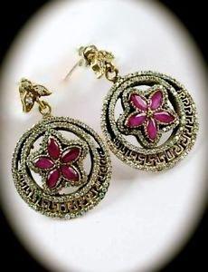 DIAMOND TOPAZ Ruby/Rubies Gems Greek Key SOLID 925 STERLING SILVER EARRINGS Gold