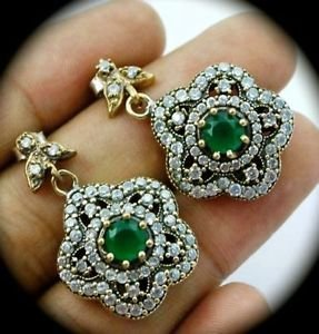 DIAMOND TOPAZ Vintage Emerald Gemsstone SOLID 925 STERLING SILVER EARRINGS Gold