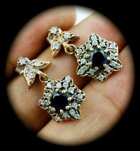 Diamond Topaz STAR Sapphire Gem/Gemstone SOLID 925 STERLING SILVER EARRINGS Gold