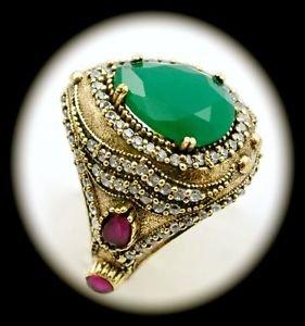 DIAMOND TOPAZ Ruby Emerald Gemstones SOLID 925 STERLING SILVER RING Sz 8.5 Gold