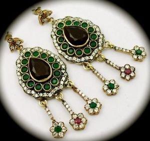 DIAMOND TOPAZ Ruby Emerald Gems/Gemstone SOLID 925 STERLING SILVER EARRINGS Gold
