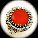 Diamond Topaz Estate Ruby Emerald Gems SOLID 925 STERLING SILVER RING 8.5 Gold