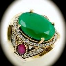 RARE Vintage Estate Ruby Emerald Gems SOLID 925 STERLING SILVER RING Size 8 Gold