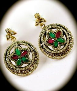 DIAMOND TOPAZ Ruby Emerald GREEK KEY Gem SOLID 925 STERLING SILVER EARRINGS Gold