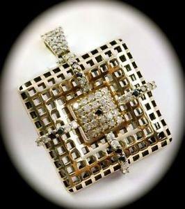 DIAMOND TOPAZ Dangle Gems SOLID 925 STERLING SILVER NECKLACE PENDANT Gold LARGE