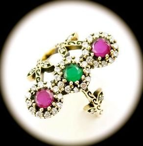 DIAMOND TOPAZ Estate Emerald Ruby Gems SOLID 925 STERLING SILVER RING Sz 9 Gold