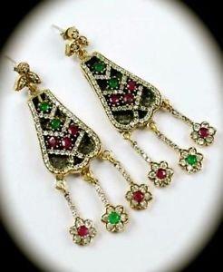 DIAMOND TOPAZ Christmas Ruby/Emerald Gem SOLID 925 STERLING SILVER EARRINGS Gold