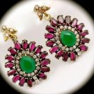 DIAMOND TOPAZ Ruby Emerald Gem/Gemstone SOLID 925 STERLING SILVER EARRINGS Gold