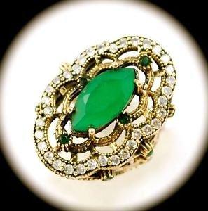 DIAMOND TOPAZ Estate Emerald Gemstones SOLID 925 STERLING SILVER RING 7.5 Gold