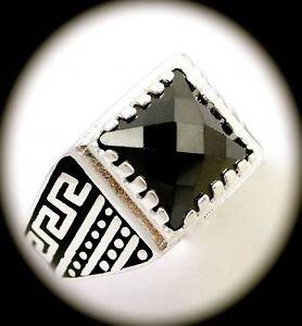 RARE Greek Key Vintage MAN Hematite Gems SOLID 925 STERLING SILVER RING Size 8.5