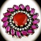 DIAMOND TOPAZ Estate Ruby/Rubies Gems SOLID 925 STERLING SILVER RING Sz 7.5 Gold
