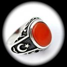 OTTOMAN EMPIRE Vintage MAN Carnelian Gem SOLID 925 STERLING SILVER RING Size 8.5