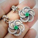DIAMOND TOPAZ Turkish Emerald Topaz Gemstone 925 Sterling Silver Earrings GOLD