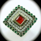 Diamond Topaz Estate Ruby Emerald Gems SOLID 925 STERLING SILVER RING 10 Gold