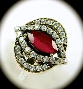 DIAMOND TOPAZ Estate Marquise Ruby Gems SOLID 925 STERLING SILVER Ring Sz 7 Gold