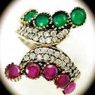DIAMOND TOPAZ Ruby Emerald Gems/Gemstones SOLID 925 STERLING SILVER RING 8 Gold