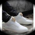 WOMEN White Medusa High Top Hip Hop Casual Shoe/Boot/Sneaker Designer Style 10.5