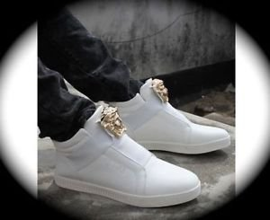 WOMEN White Medusa High Top Hip Hop Casual Shoe/Boot/Sneakers Designer Style 8.5