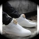 WOMEN White Medusa High Top Hip Hop Casual Shoe/Boot/Sneakers Designer Style 7.5