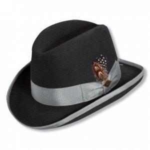 76650ab1927a0 Mens BLACK GREY HOMBURG Godfather Fedora Top Hat M L XL