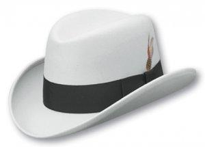 344691ca4 Mens WHITE HOMBURG Straw Godfather Fedora Top Dress Hat