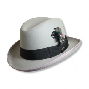 Mens GREY WOOL HOMBURG Godfather Fedora Top Hat M L XL 6b35263c93f5
