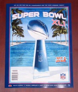 Super Bowl XLI Official Program Colts vs Bears