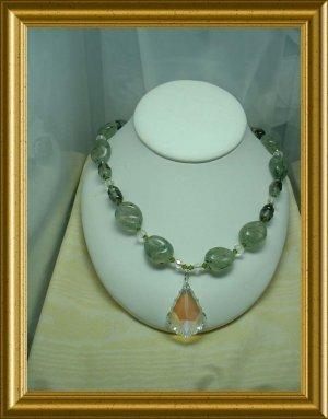 Prehnite and Crystal Necklace