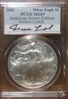 2003 American Silver Eagle Signature Series Jessica Lynch PCGS MS69