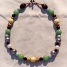 The Seaside: 4 - Natural Beaded Necklace - Wood, Onyx, Plastic, Dyed Jade