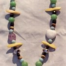 The Seaside: 6 - Shell Pendant Beaded Necklace - Wood, Onyx, Dyed Jade, White Quartz, Amethyst