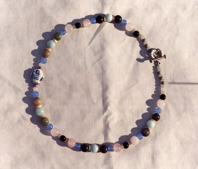 The Seaside: 7 - Natural Beaded Necklace - Glass, Dyed Jade, Onyx, Rose Quartz, Jasper
