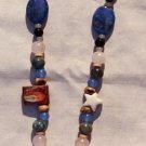 The Seaside: 8 - Jade Heart Pendant Beaded Necklace - Glass, Onyx, Rose Quartz, Lapis, Seashell