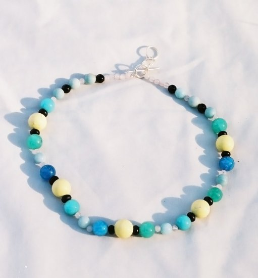 The Garden: 01 - Natural Beaded Necklace - Rose Quartz, Onyx, Dyed Jade, Plastic