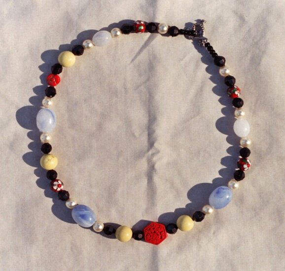 The Garden: 04 - Natural Beaded Necklace - Glass, Faux Pearls, Dyed Jade, Metal, Cinnabar