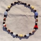 The Garden: 05 - Natural Beaded Necklace - Glass, Dyed Jade, Metal, Cinnabar, Ceramic, Wood