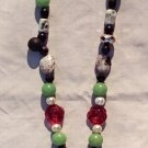 The Garden: 08 - Natural Beaded Pendant Necklace - Glass, Dyed Jade, Stone, Crystal, Plastic